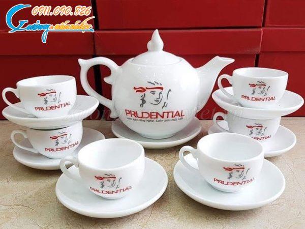 Bộ ấm trà bưởi lửa trắng in logo tại Xưởng Gốm Sứ Việt