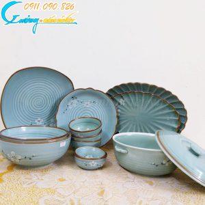 Bộ bát đĩa men xanh viền nâu- BĐ02