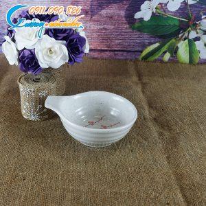 Bát gia vị có tai men gấm hoa đào- BDHD24
