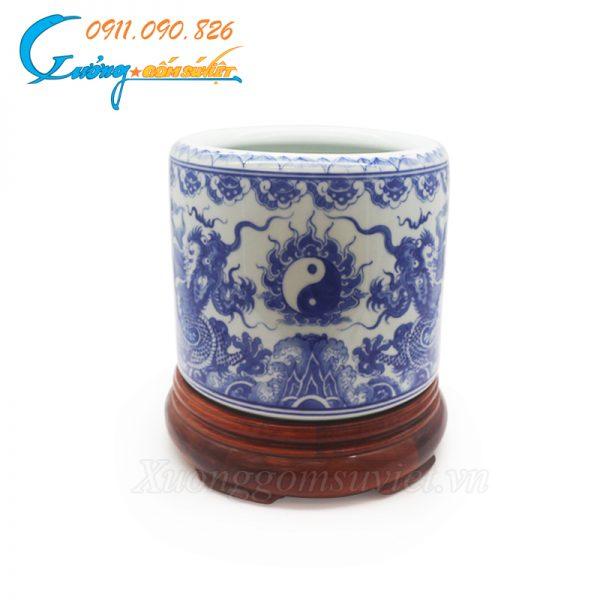 Bát hương men trắng xanh vẽ tay- DTMTVT22
