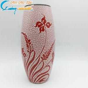 Bình hoa dáng bầu men rạn đỏ - BH15