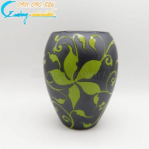 Bình hoa dáng bầu thấp hoa dây xanh- BH09