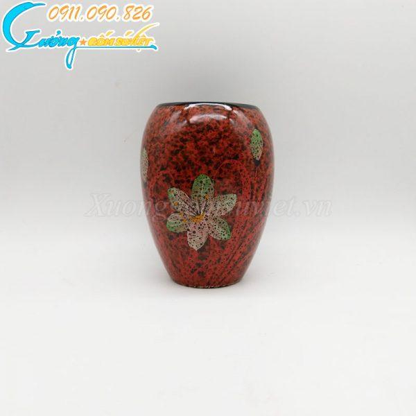 Bình hoa đỏ dáng bầu thấp vẽ hoa xanh- BH03