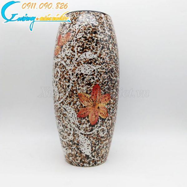 Bình hoa men hỏa biến dáng bầu cao hoa dây đỏ - BH10