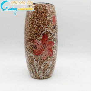 Bình hoa men hỏa biến nâu hoa đỏ dáng cao – BH04