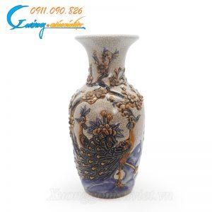 Bình hoa men rạn Chim công Mẫu đơn khắc nổi Bát Tràng- ĐT02