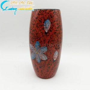 Bình hoa men rạn đỏ dáng cao vẽ hoa xanh – BH02