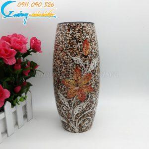 Bình hoa nâu dáng cao men hỏa biến – BH13