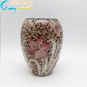 Bình hoa nâu hoa tím men hỏa biến dáng bầu – BH05