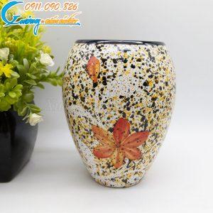 Bình hoa vàng dáng bầu hoa đỏ - BH06