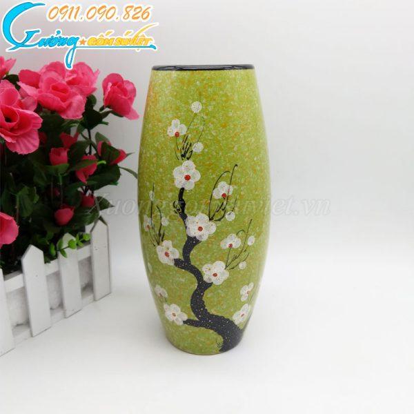 Bình hoa xanh dáng cao hoa đào trắng –BH11