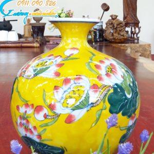Bình hút lộc hoa sen vàng – LB11