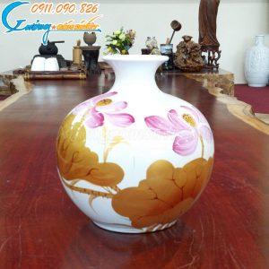 Bình hút lộc họa tiết hoa sen sơn mài màu trắng- LB18
