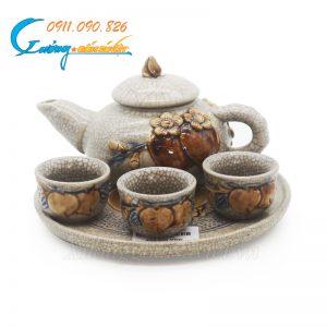 Bộ ấm trà cúng 3 chén quả đào men rạn Bát Tràng- DTMR09