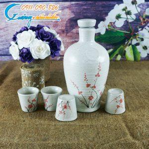Bộ bình rượu men gấm hoa đào- BDHD28