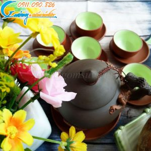 Bộ trà tử sa đắp hoa đào – BTS03