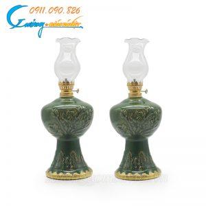 Đèn dầu thờ hoa sen men Ngọc lục bảo- DTNLB08