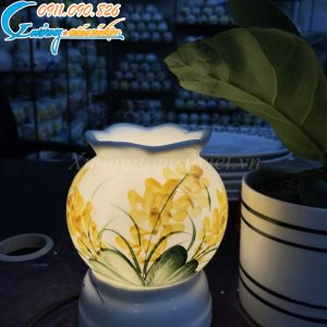 Đèn xông tinh dầu nắp đĩa thủy tinh – DX13