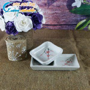 Đĩa gia vị 2 ngăn chữ nhật men gấm hoa đào- BDHD23