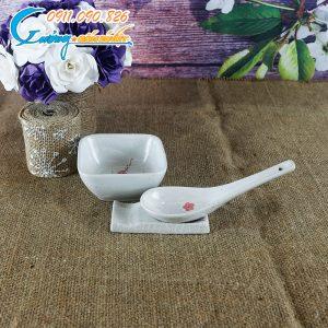 Đĩa gia vị vuông và gác đũa hoa đào- BDHD25