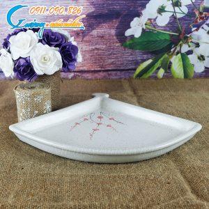Đĩa quạt men gấm hoa đào – BDHD05
