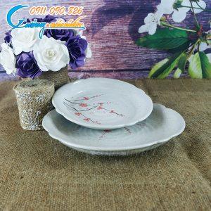 Đĩa tròn cắt men gấm hoa đào- BDHD09