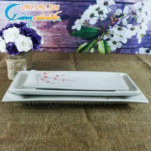 Khay chữ nhật dài men gấm hoa đào- BDHD14