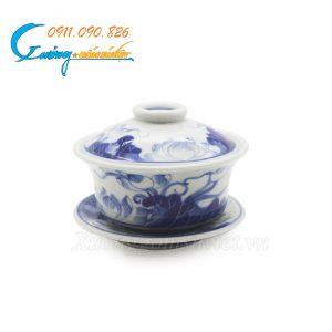 Bát sâm men trắng xanh hoa sen- DTMTX02