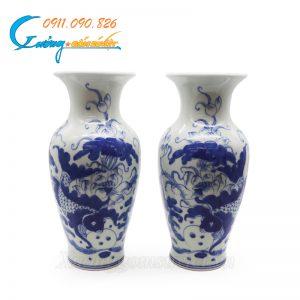 Bình hoa vẽ Cá Sen men trắng xanh- DTMTX07