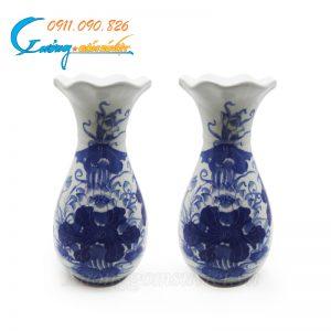 Bình hoa miệng loe vẽ sen men trắng xanh- DTMTX06