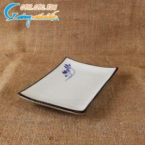 Đĩa chữ nhật vếch sen xanh men trắng – BDSX12