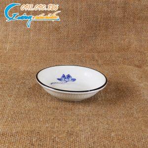 Đĩa tiêu sen xanh men trắng- BDSX21