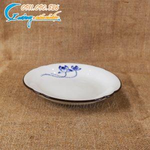 Đĩa tròn cắt sen xanh men trắng – BDSX08