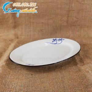 Đĩa xoài sen xanh men trắng – BDSX06