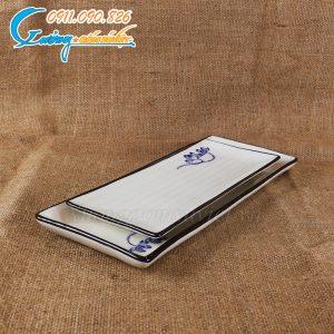 Khay chữ nhật sen xanh men trắng – BDSX10