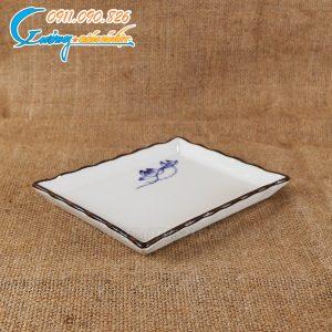Khay kê khăn men xanh sen trắng – BDSX13