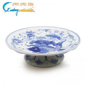 Mâm bồng cá sen men trắng xanh- DTMTX04