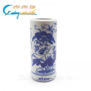 Ống hương vẽ sen men trắng xanh- DTMTX05