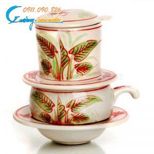 Phin cafe Bát Tràng họa tiết khoai chuồn màu đỏ