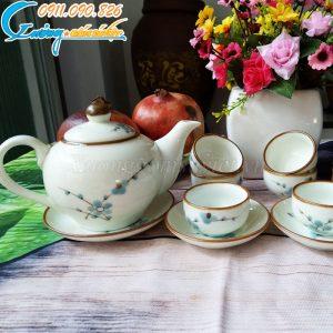 Bộ trà trắng đào xanh viền nâu – BT19