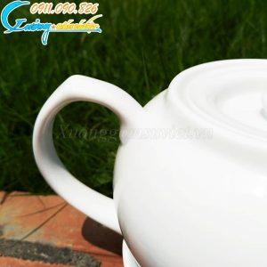 Bộ ấm trà trắng CK thấp