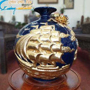 """Bình hút lộc """"Thuận buồm xuôi gió"""" mạ vàng men xanh- LB45"""