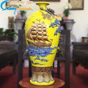 """Bình hút lộc """"Thuận buồm xuôi gió"""" men vàng- LB43"""