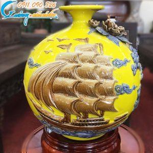 """Bình hút lộc """"Thuận buồm xuôi gió"""" men vàng- LB44"""