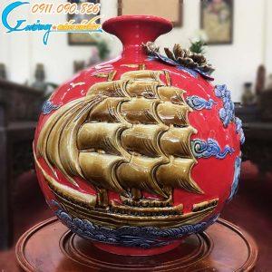 """Bình hút lộc """"Thuận buồn xuôi gió"""" màu đỏ- LB38"""
