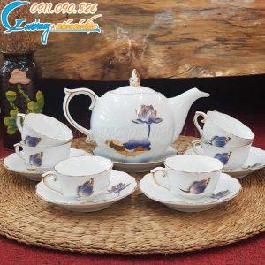 Bộ ấm trà hoa mẫu đơn vẽ vàng hoa sen