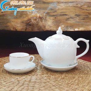 Bộ ấm trà dáng bưởi họa tiết hoa sen vẽ vàng