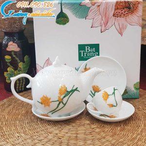 Bộ ấm trà dáng bưởi lửa họa tiết hoa quỳnh