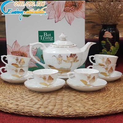 Bộ ấm trà đèn thần hoa sen chuồn vẽ vàng