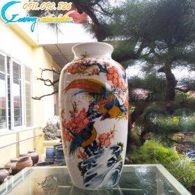 Bình hoa dáng bầu họa tiết chim trĩ hoa đào